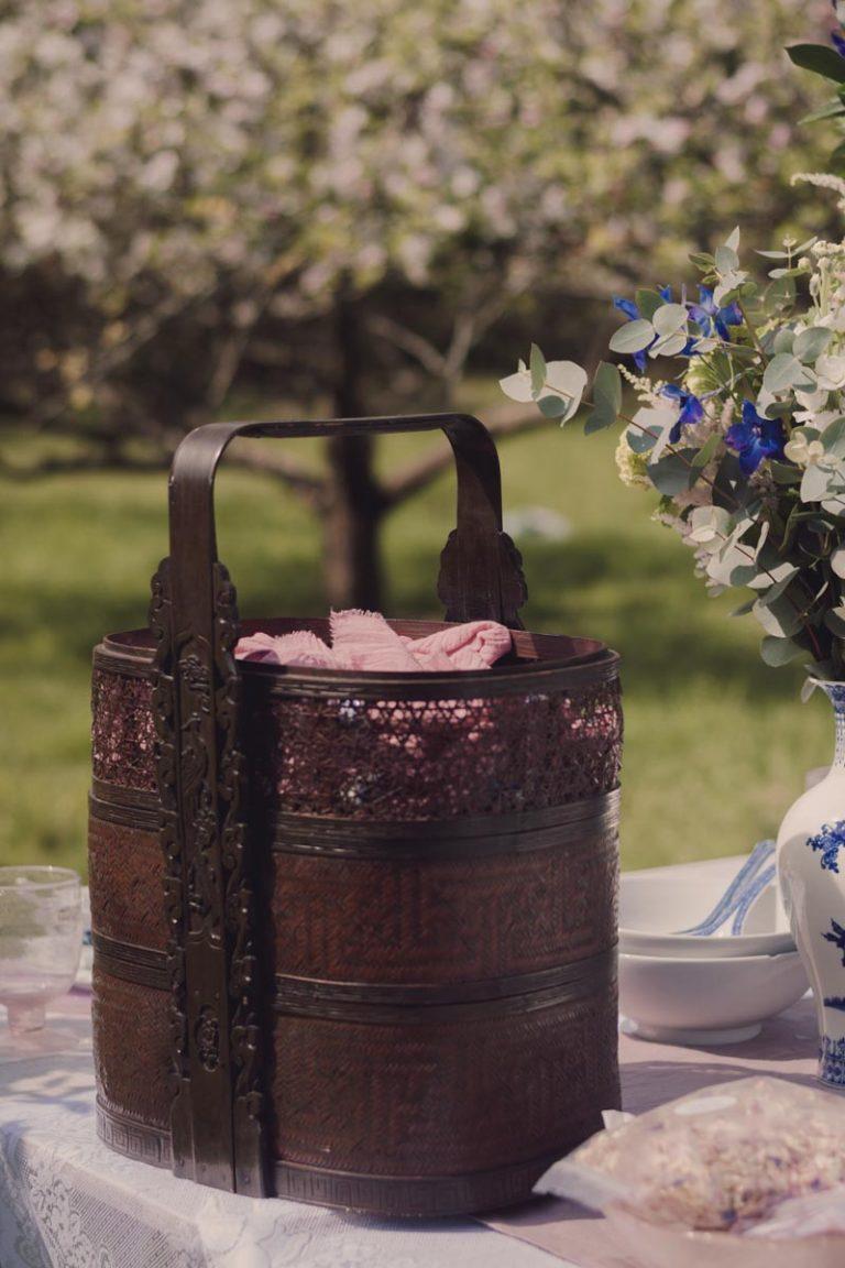 a dark brown wicker basket