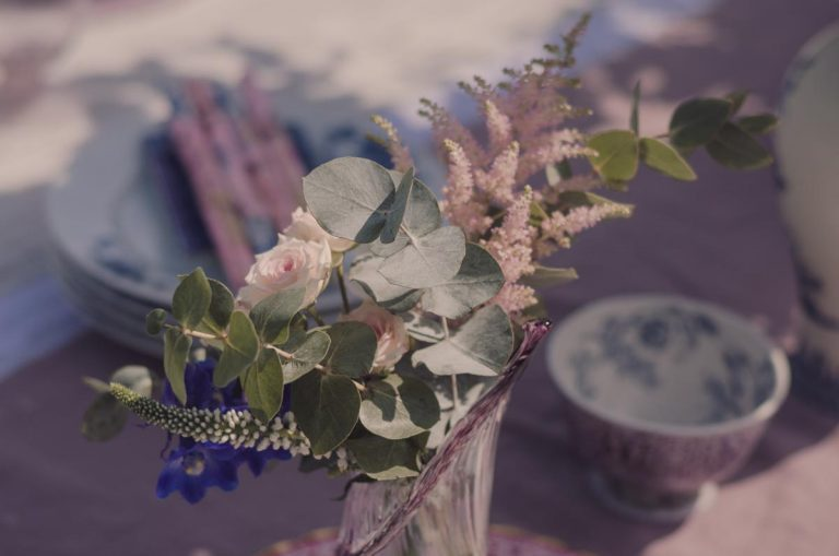 detail of flower arrangements at the table