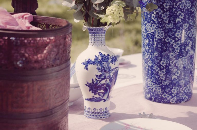 Beautiful blue and white oriental china vases