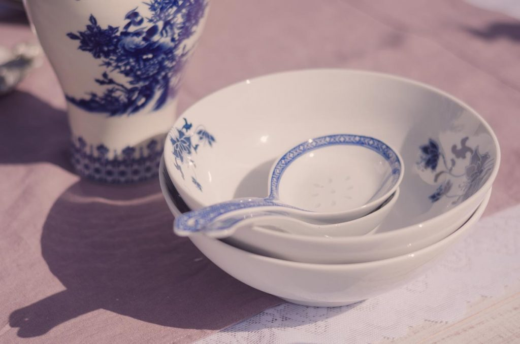 Detail shot of oriental themed china and tableware