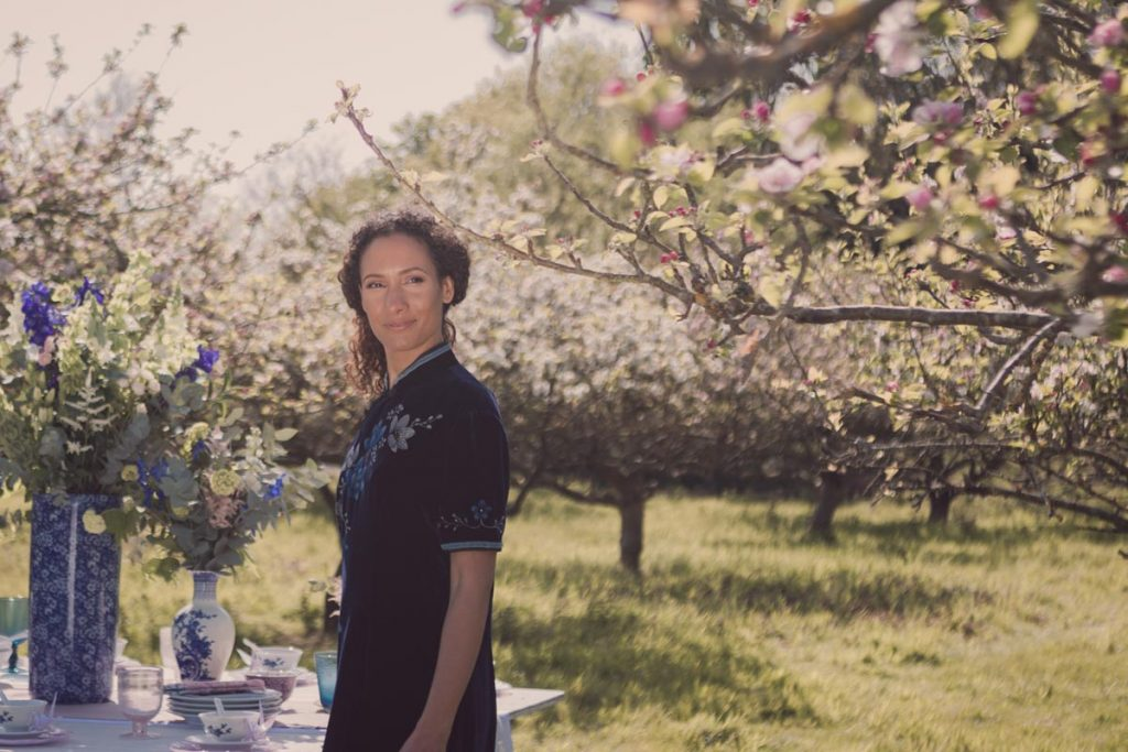 Beautiful spring sunshine, apple blossom and our model gazing
